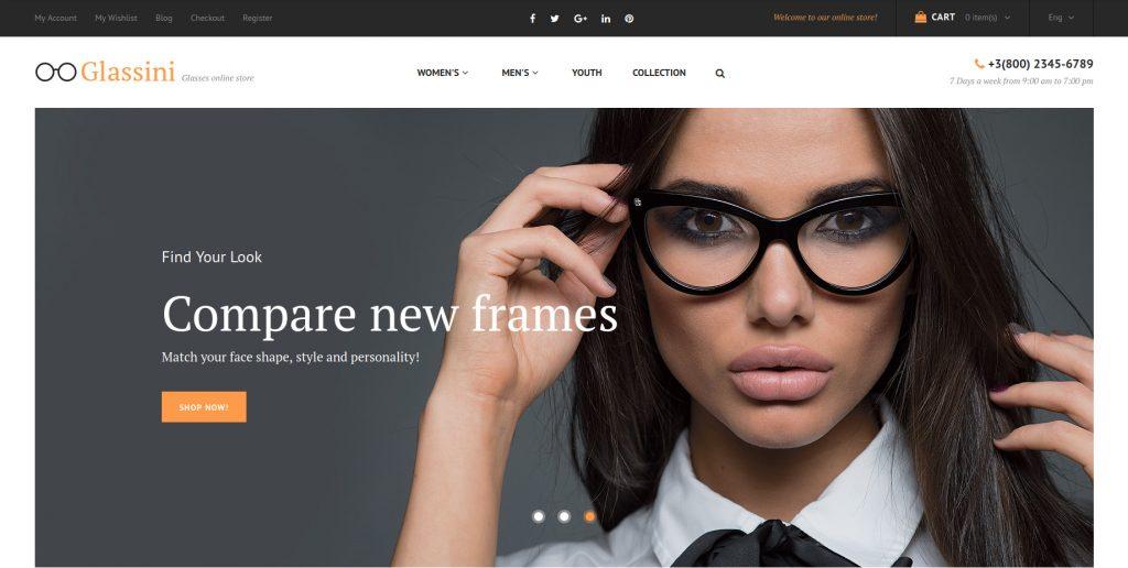 Glassini - Optical and Lenses Magento 2 Themes