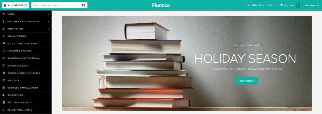 Fluence - Books & Entertainment Magento 2 Theme