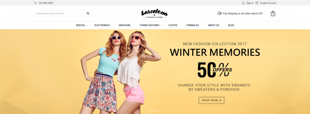 Barcelona - Fashion and Accessories 3dcart Theme