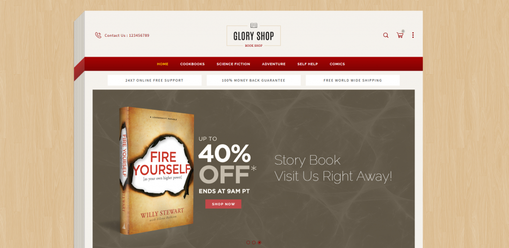 Glory Shop - Books & Entertainment Magento 2 Theme