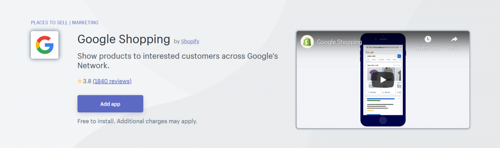 Google Shopping - Place To Sell Shopify App