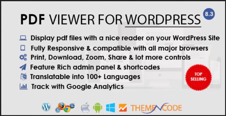 PDF viewer - Media Elementor WordPress Plugin