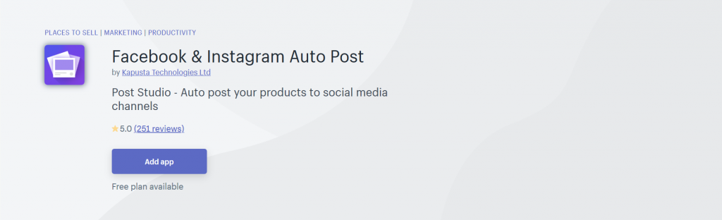 Facebook & Instagram Auto Post - Place To Sell Shopify App