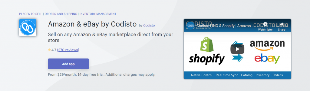 Amazon & eBay by Codisto - Place To Sell Shopify App