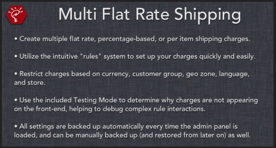 Multi Flat Rate - Shipping Methods OpenCart Extension