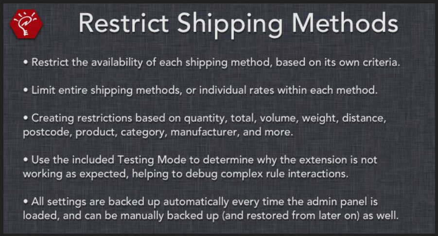 Restrict Shipping Methods OpenCart Extension