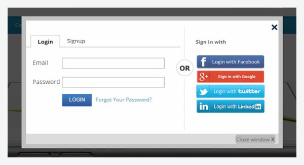 Facebook Google Login Registration Popup