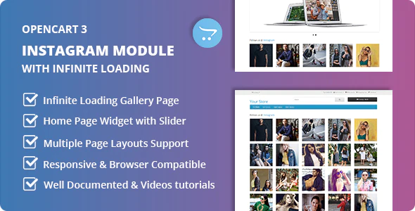 Instagram Module with Home Page Widget and Infinite Loading Page Gallery